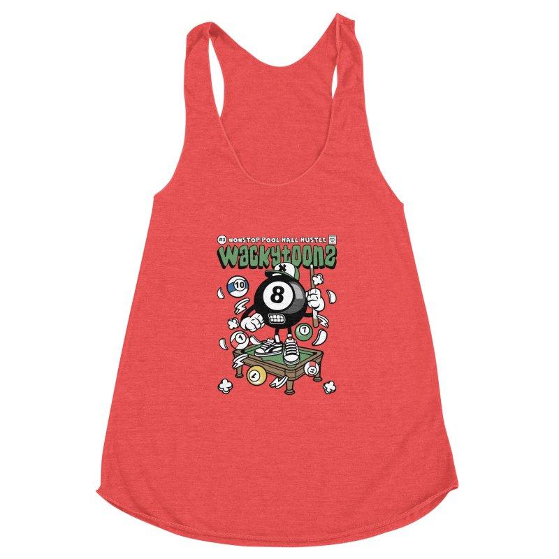 Nonstop Pool Hall Hustle Women's Racerback Triblend Tank by WackyToonz