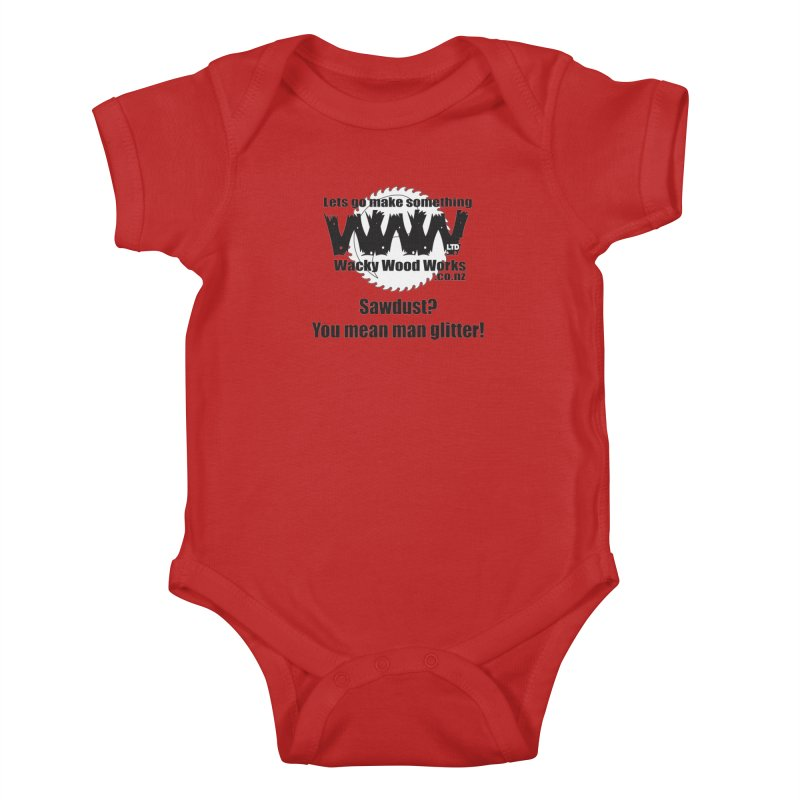 Man Glitter Kids Baby Bodysuit by Wacky Wood Works's Shop