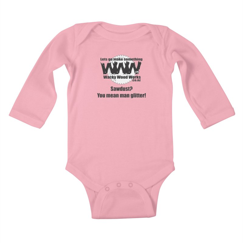 Man Glitter Kids Baby Longsleeve Bodysuit by Wacky Wood Works's Shop
