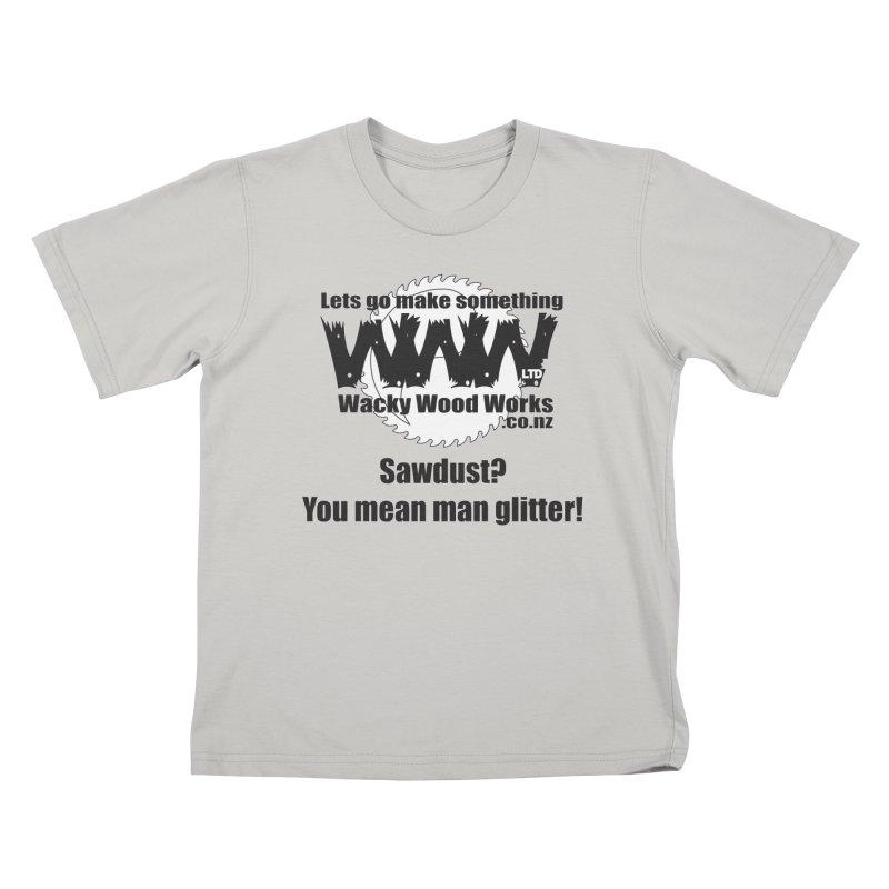 Man Glitter Kids T-Shirt by Wacky Wood Works's Shop