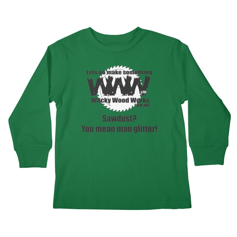 Man Glitter Kids Longsleeve T-Shirt by Wacky Wood Works's Shop