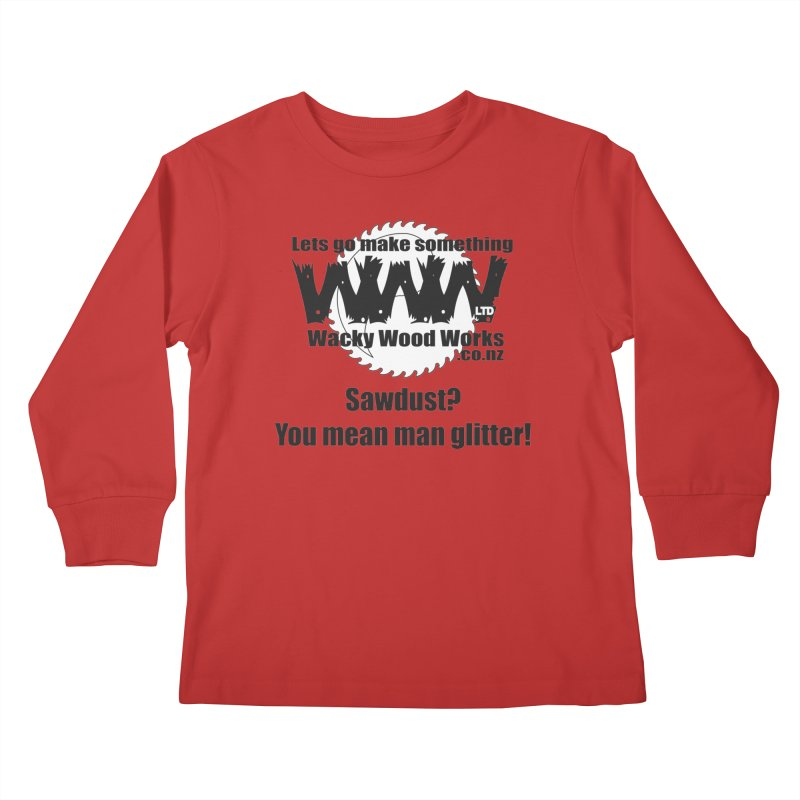 Man Glitter Kids Longsleeve T-Shirt by Wacky Wood Works's Shop