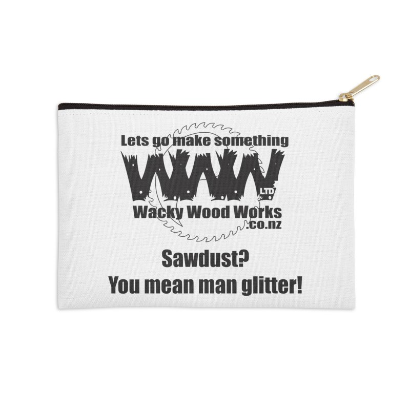Man Glitter Accessories Zip Pouch by Wacky Wood Works's Shop