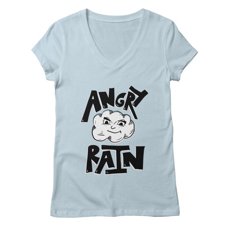 Angry Rain Women's Regular V-Neck by Brandon Waite - Artist Shop