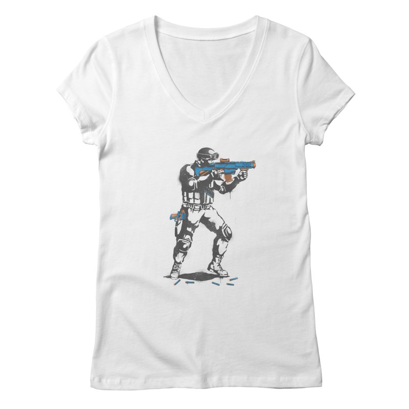 PLAY NOT WAR Women's V-Neck by waldychavez's Artist Shop