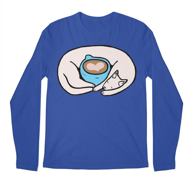 Coffee Cat Blue Men's Longsleeve T-Shirt by walkersteph's Artist Shop