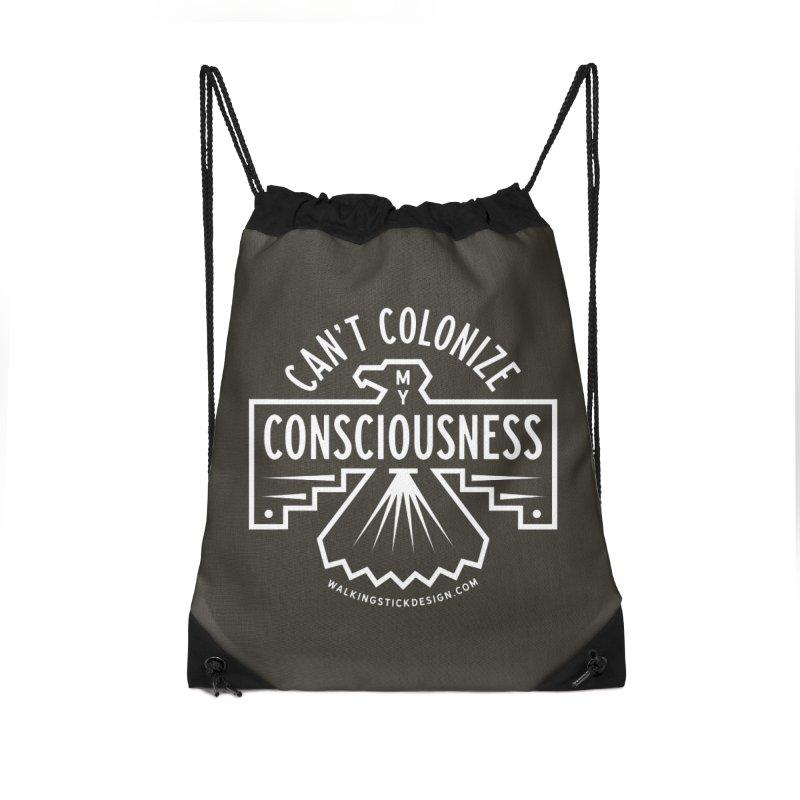 Can't Colonize  + WalkingStick Design Co. Accessories Drawstring Bag Bag by WalkingStick Design's Artist Shop