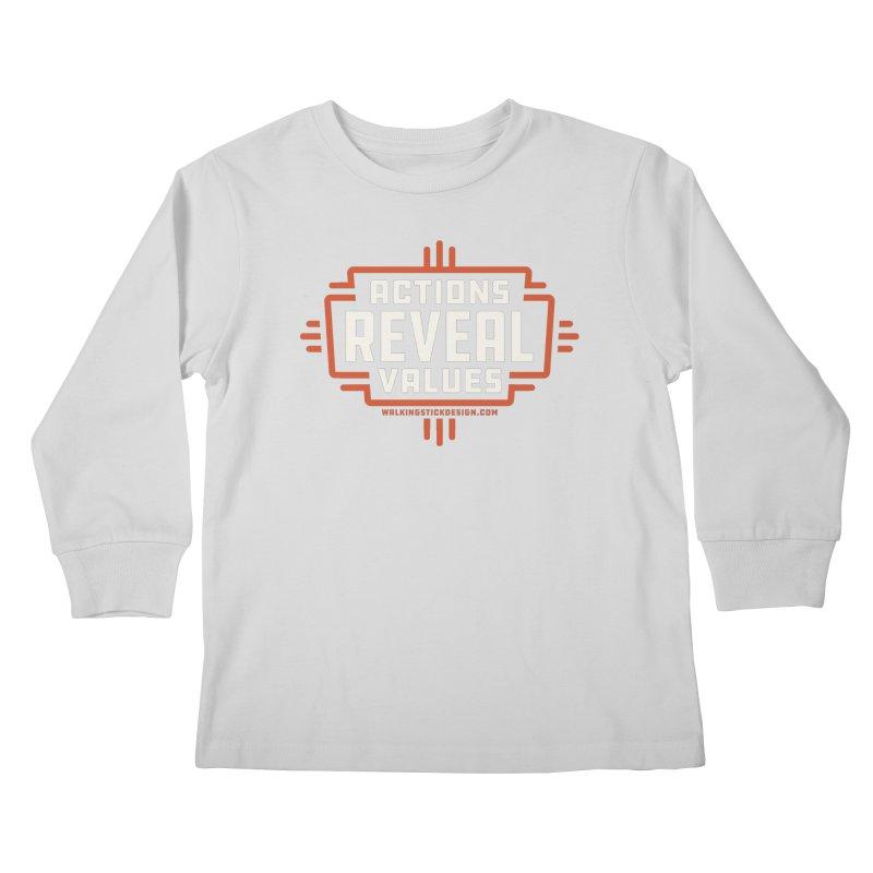 ACTIONS + WALKINGSTICK DESIGN CO. Kids Longsleeve T-Shirt by WalkingStick Design's Artist Shop