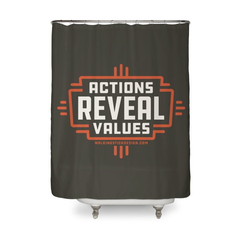 ACTIONS + WALKINGSTICK DESIGN CO. Home Shower Curtain by WalkingStick Design's Artist Shop