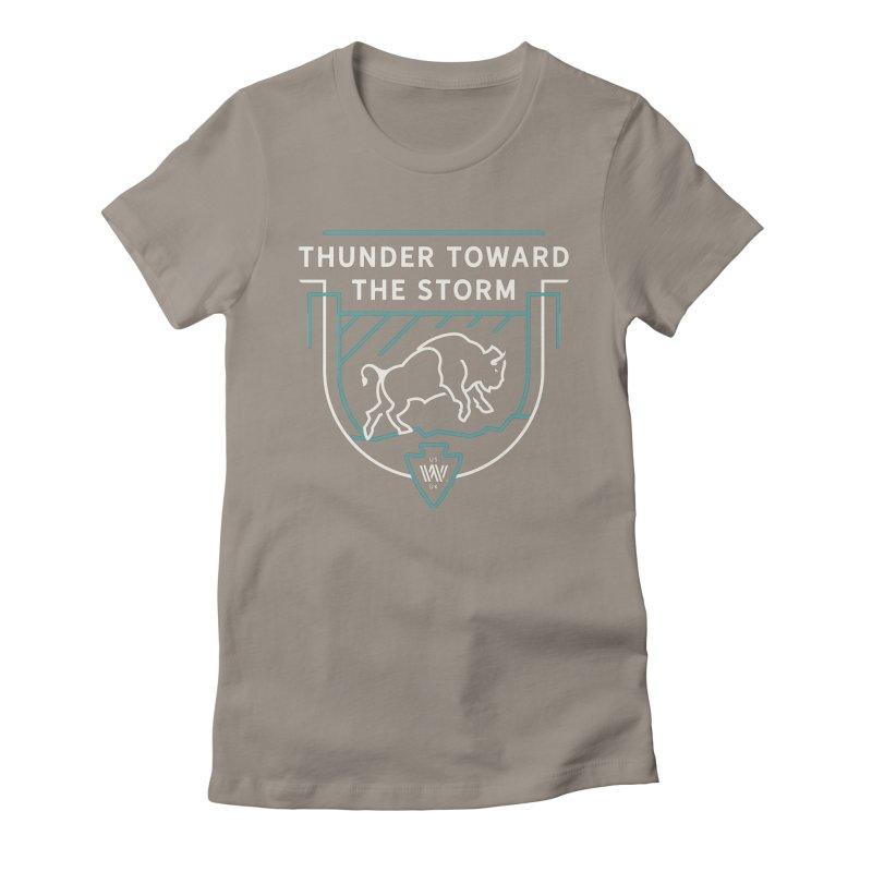 STORM + WALKINGSTICK DESIGN CO. Women's Fitted T-Shirt by WalkingStick Design's Artist Shop
