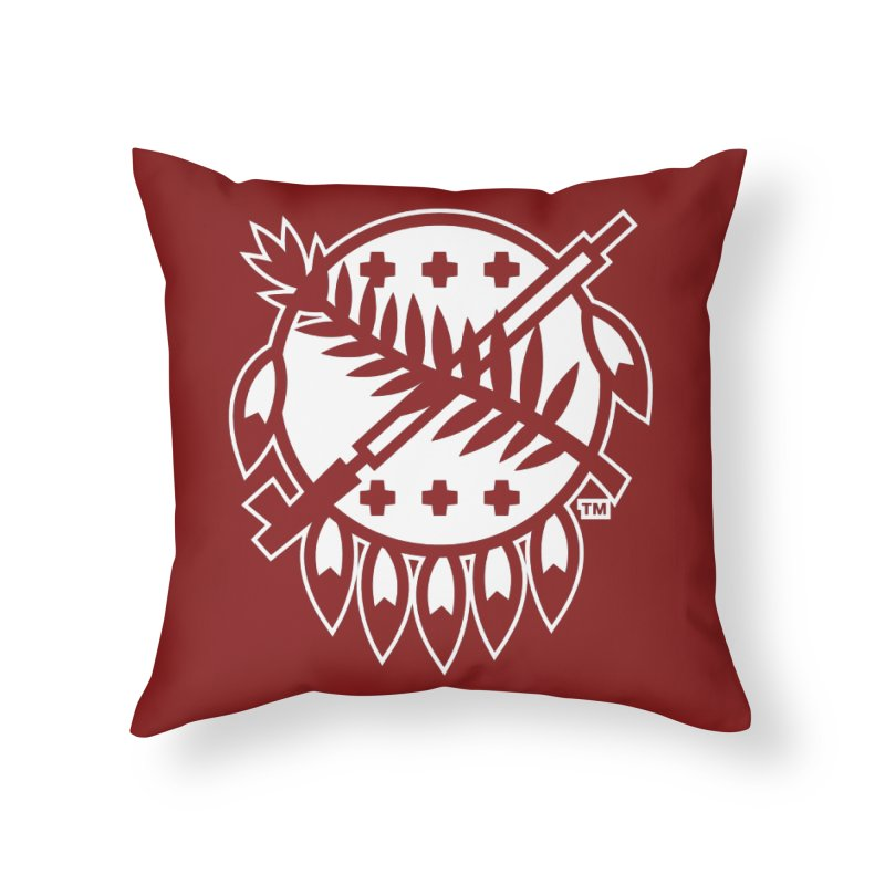 Osage Shield Home Throw Pillow by WalkingStick Design's Artist Shop