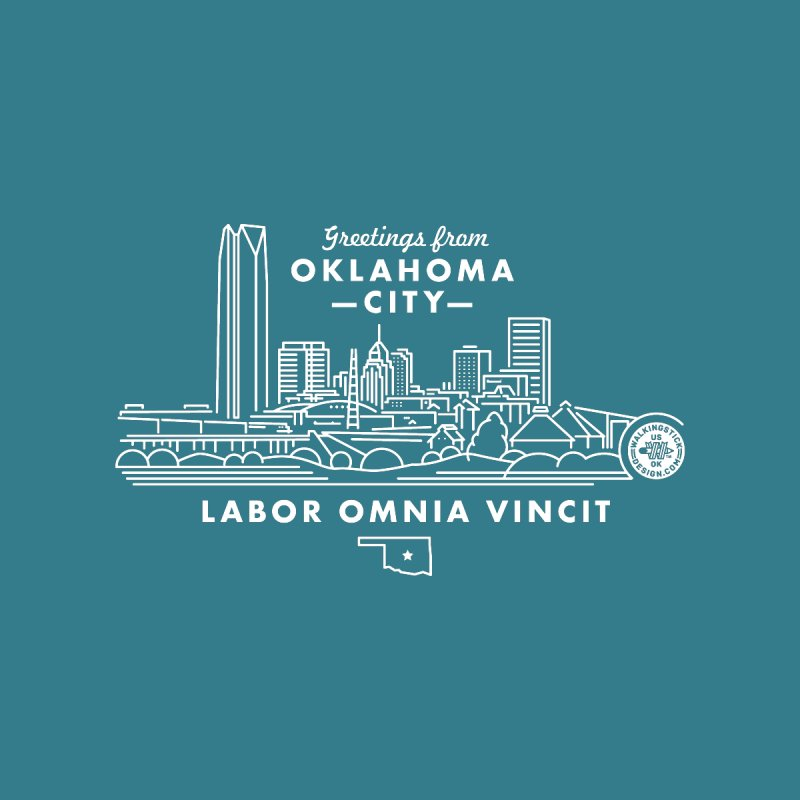 OKC Skyline Accessories Beach Towel by WalkingStick Design's Artist Shop