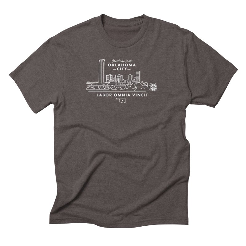 OKC Skyline Men's Triblend T-Shirt by WalkingStick Design's Artist Shop