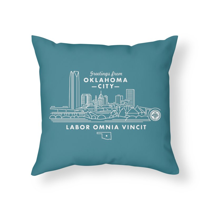 OKC Skyline Home Throw Pillow by WalkingStick Design's Artist Shop