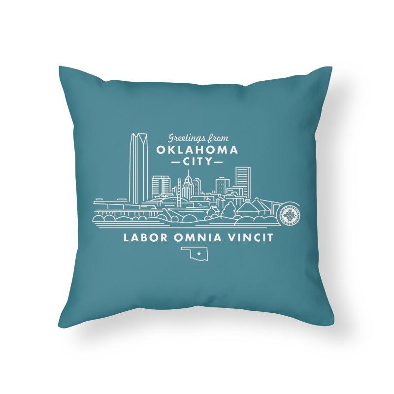 OKC Skyline Home Throw Pillow by WalkingStick Design's Artist Shop