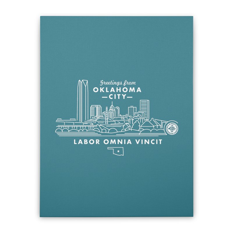 OKC Skyline Home Stretched Canvas by WalkingStick Design's Artist Shop