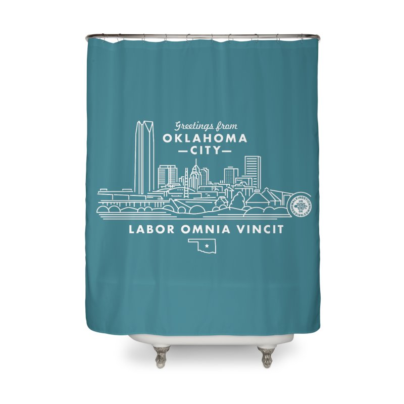 OKC Skyline Home Shower Curtain by WalkingStick Design's Artist Shop