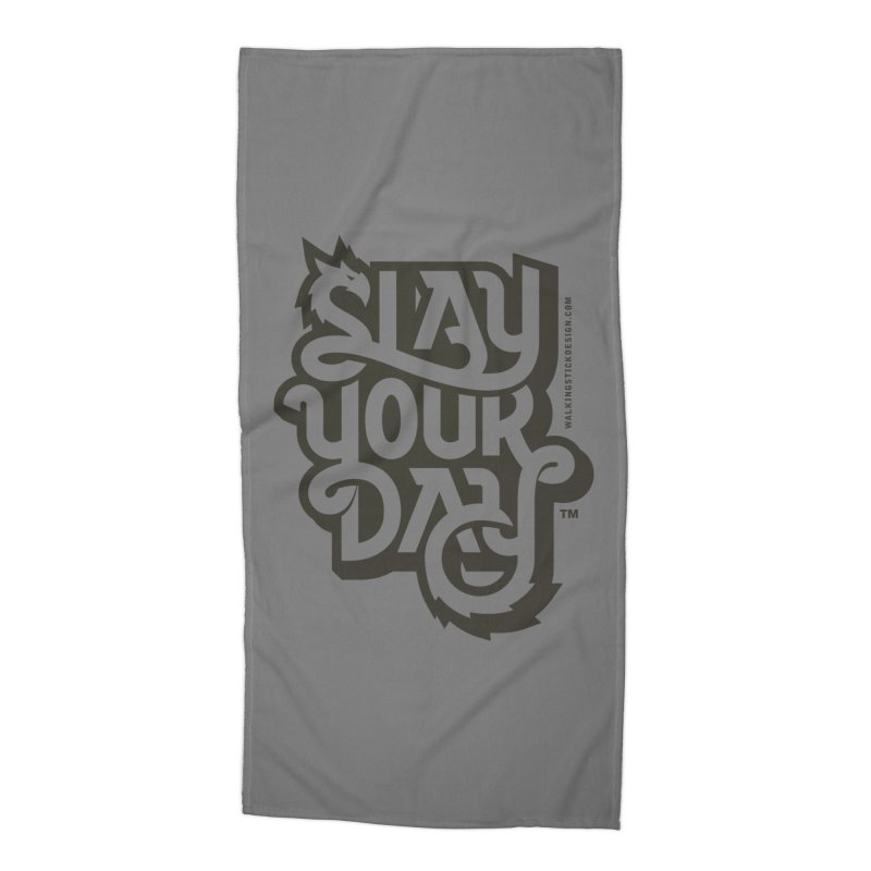 Slay Your Grey Accessories Beach Towel by WalkingStick Design's Artist Shop