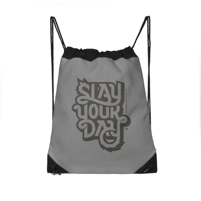 Slay Your Grey Accessories Drawstring Bag Bag by WalkingStick Design's Artist Shop