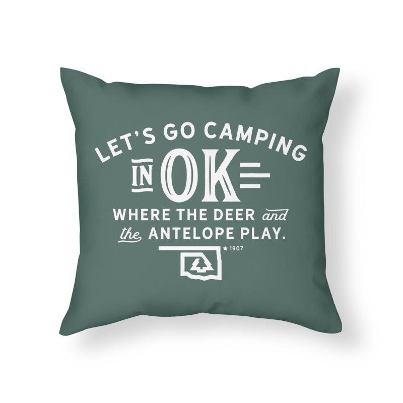 OK Camping Home Throw Pillow by WalkingStick Design's Artist Shop