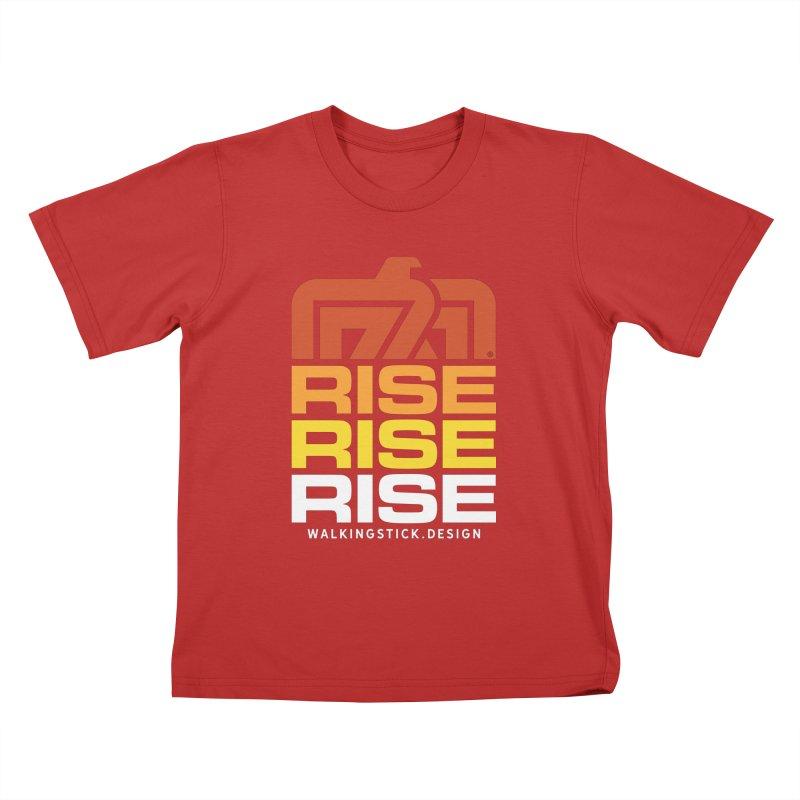 T-BIRD RISE UP + WALKINGSTICK DESIGN CO. Kids T-Shirt by WalkingStick Design's Artist Shop