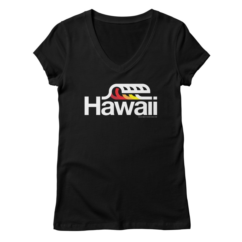 Hawaii Wave Women's Regular V-Neck by walkingstickdesign's Artist Shop
