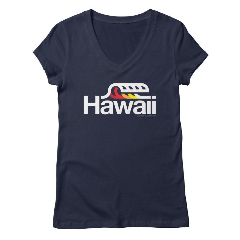 Hawaii Wave Women's V-Neck by walkingstickdesign's Artist Shop