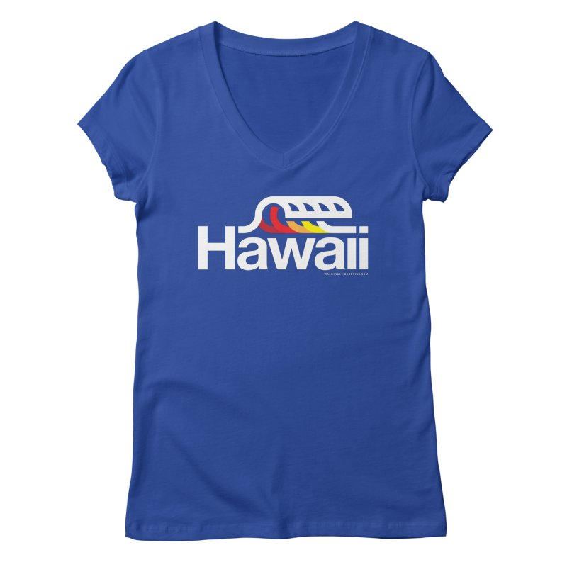 Hawaii Wave Women's V-Neck by walkingstickdesign's Artist Shop