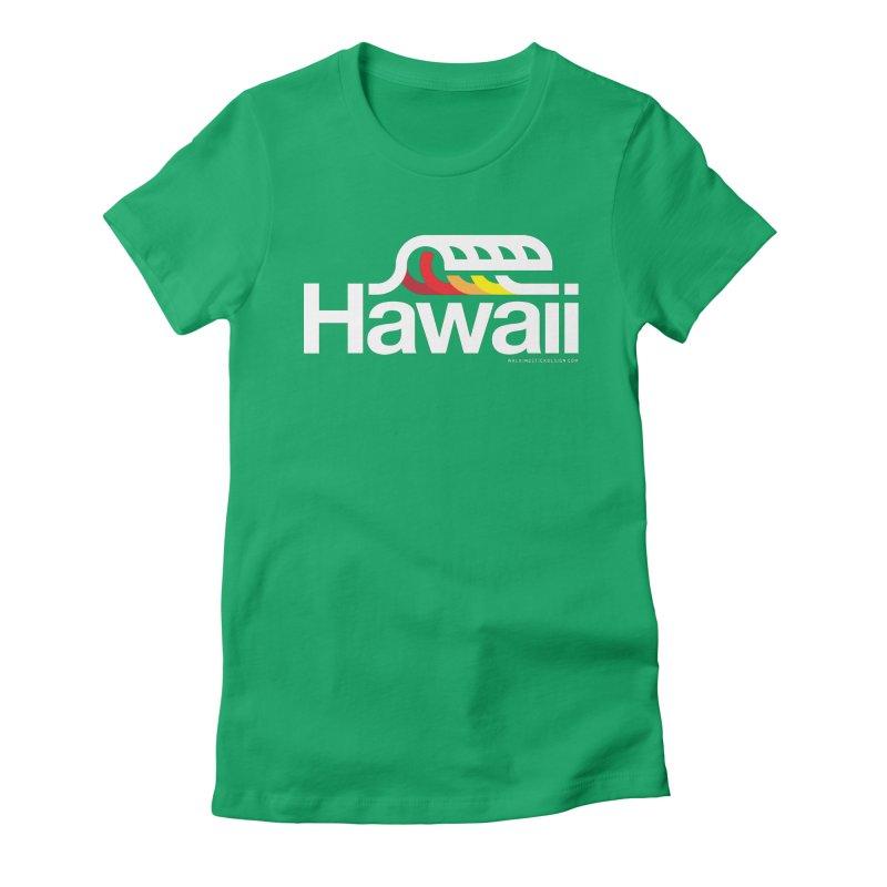 Hawaii Wave Women's Fitted T-Shirt by walkingstickdesign's Artist Shop