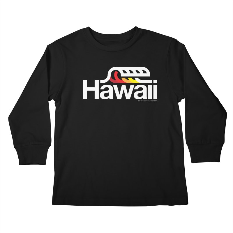 Hawaii Wave Kids Longsleeve T-Shirt by walkingstickdesign's Artist Shop