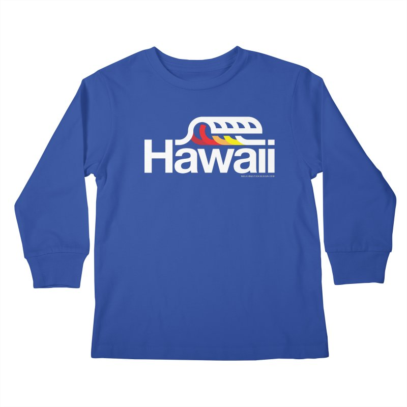 Hawaii Wave Kids Longsleeve T-Shirt by WalkingStick Design's Artist Shop