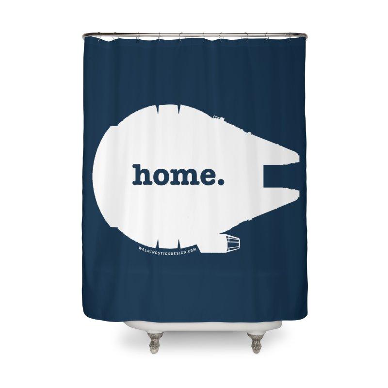 Millennium Falcon Home Shirt - White Home Shower Curtain by WalkingStick Design's Artist Shop