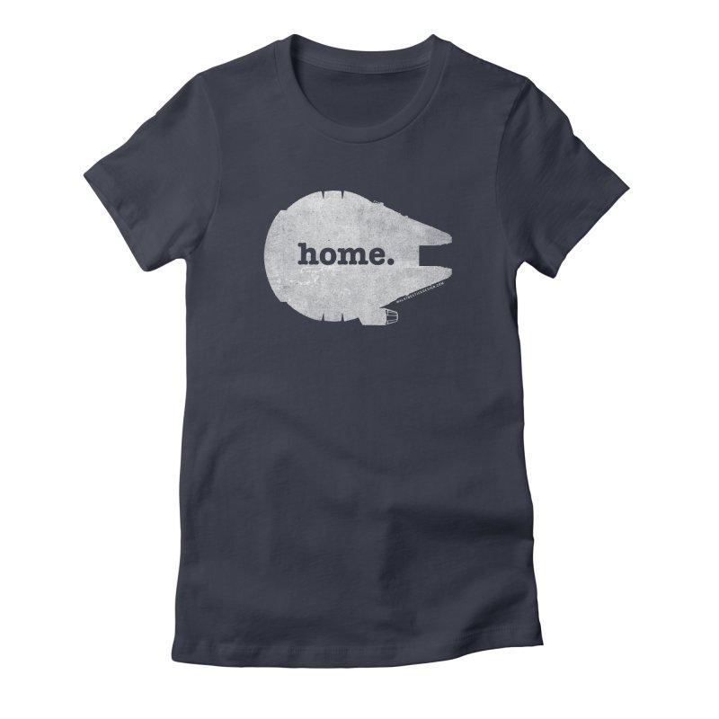 Millennium Falcon Home Shirt - White Women's Fitted T-Shirt by WalkingStick Design's Artist Shop
