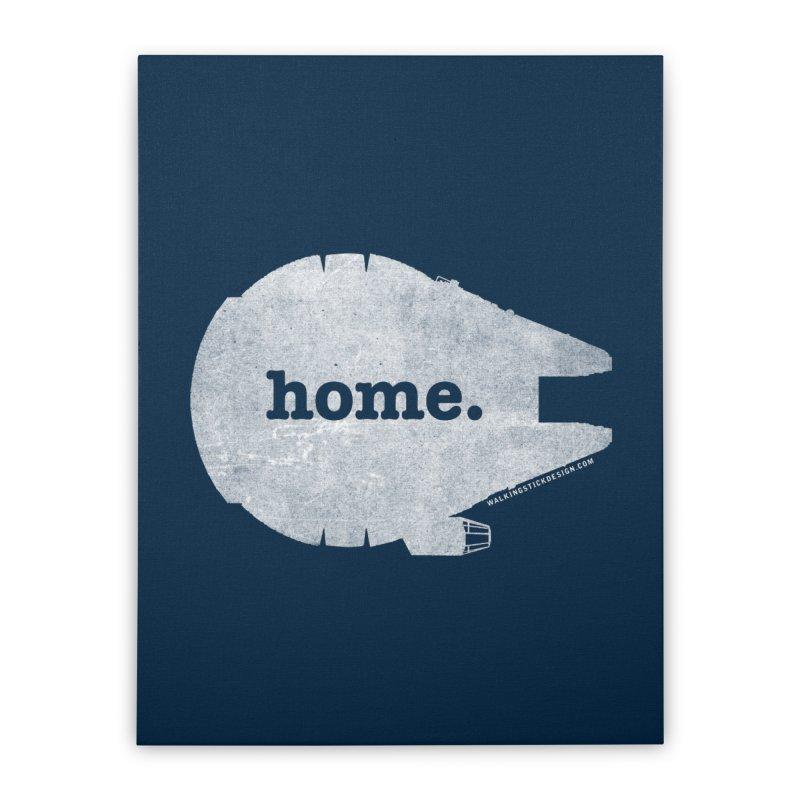 Millennium Falcon Home Shirt - White Home Stretched Canvas by WalkingStick Design's Artist Shop