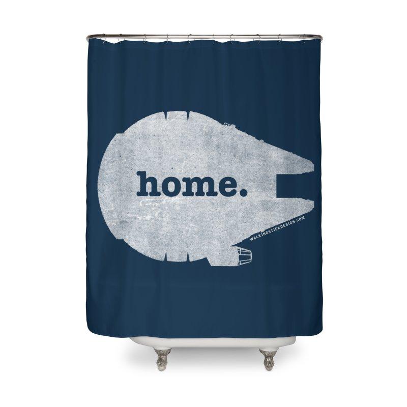 Millennium Falcon Home Shirt - White Home Shower Curtain by walkingstickdesign's Artist Shop
