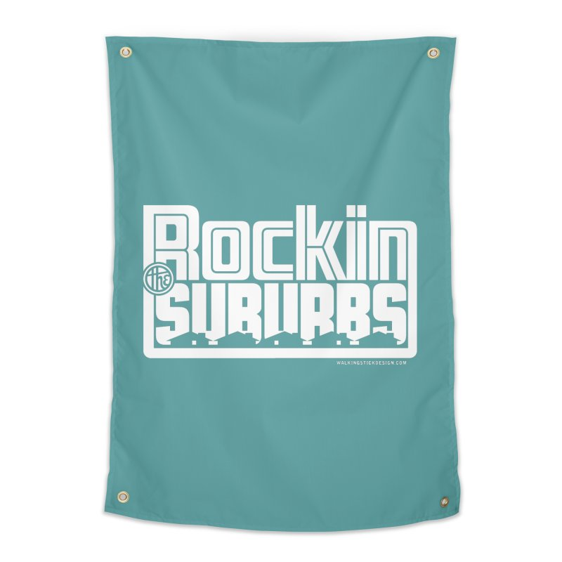 Rockin' The Suburbs - White Home Tapestry by walkingstickdesign's Artist Shop