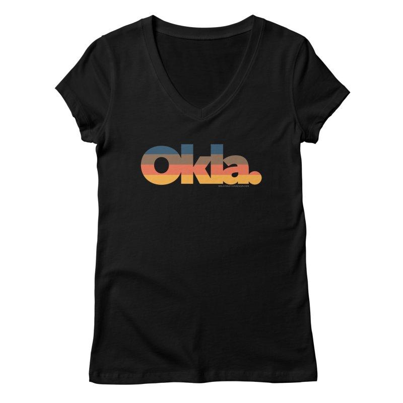 Oklahoma Sunset Women's V-Neck by WalkingStick Design's Artist Shop