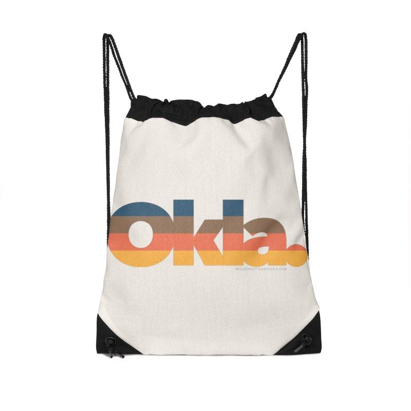 Oklahoma Sunset Accessories Drawstring Bag Bag by WalkingStick Design's Artist Shop