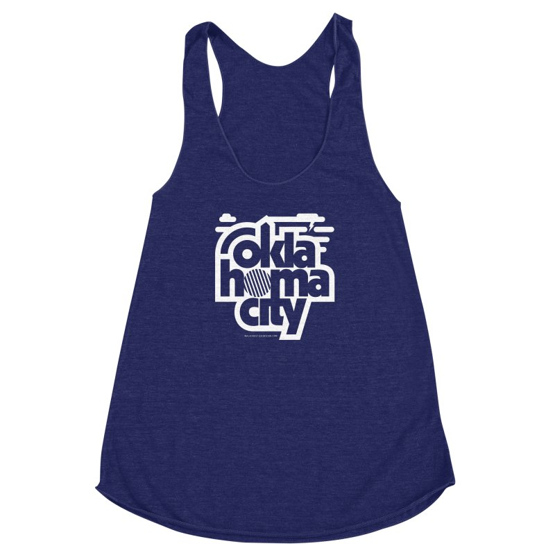 Retro Oklahoma City Shirt Women's Racerback Triblend Tank by walkingstickdesign's Artist Shop