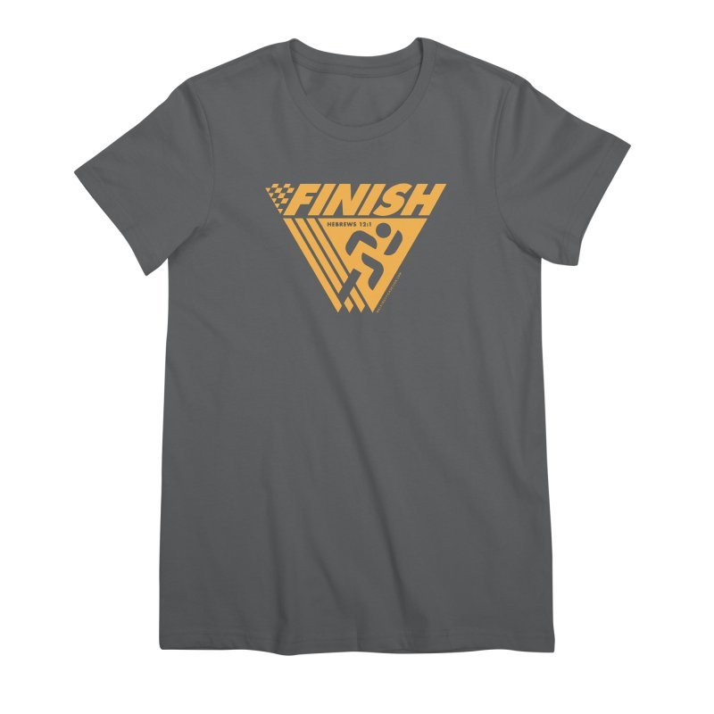 FINISH Retro Race Tee Women's Premium T-Shirt by WalkingStick Design's Artist Shop