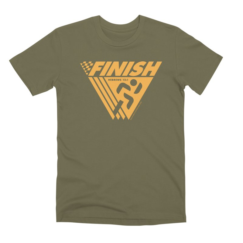 FINISH Retro Race Tee Men's Premium T-Shirt by WalkingStick Design's Artist Shop