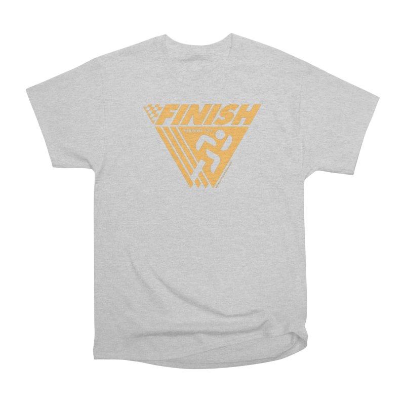 FINISH Retro Race Tee Men's Heavyweight T-Shirt by WalkingStick Design's Artist Shop