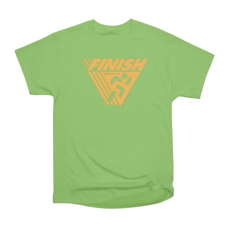 FINISH Retro Race Tee Men's Heavyweight T-Shirt by walkingstickdesign's Artist Shop
