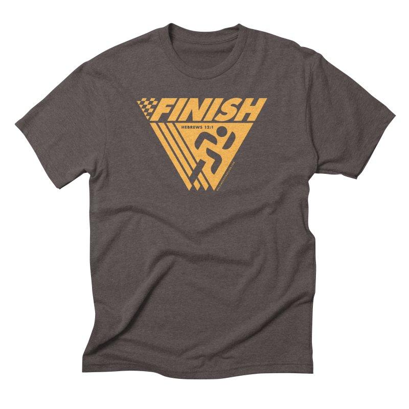 FINISH Retro Race Tee Men's Triblend T-Shirt by WalkingStick Design's Artist Shop