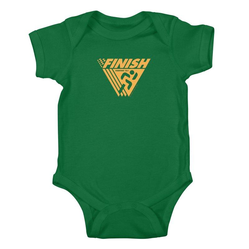 FINISH Retro Race Tee Kids Baby Bodysuit by WalkingStick Design's Artist Shop