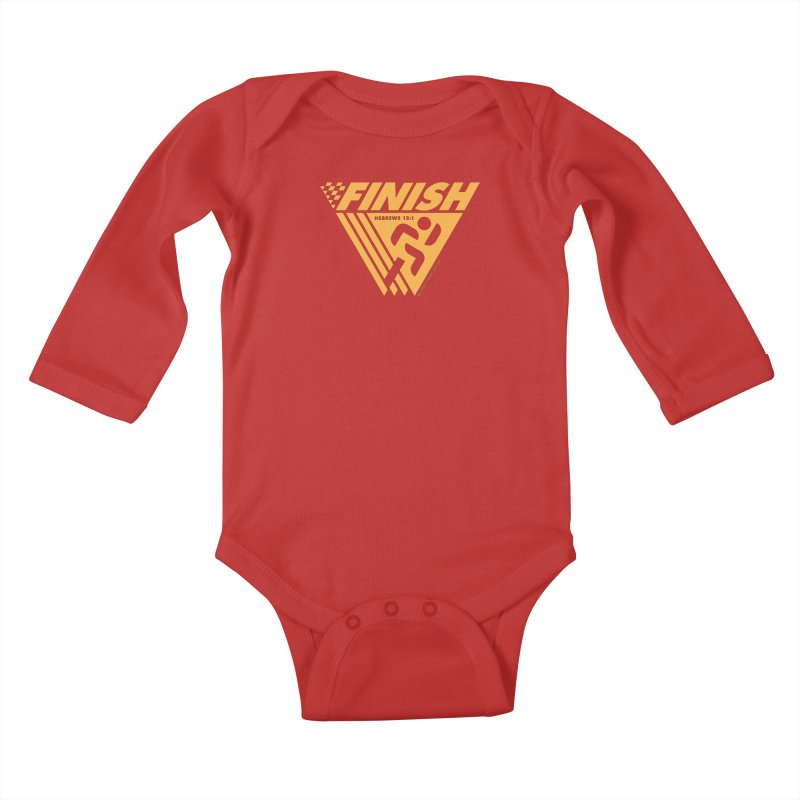 FINISH Retro Race Tee Kids Baby Longsleeve Bodysuit by walkingstickdesign's Artist Shop