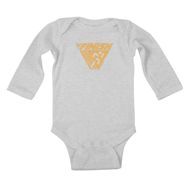 FINISH Retro Race Tee Kids Baby Longsleeve Bodysuit by WalkingStick Design's Artist Shop