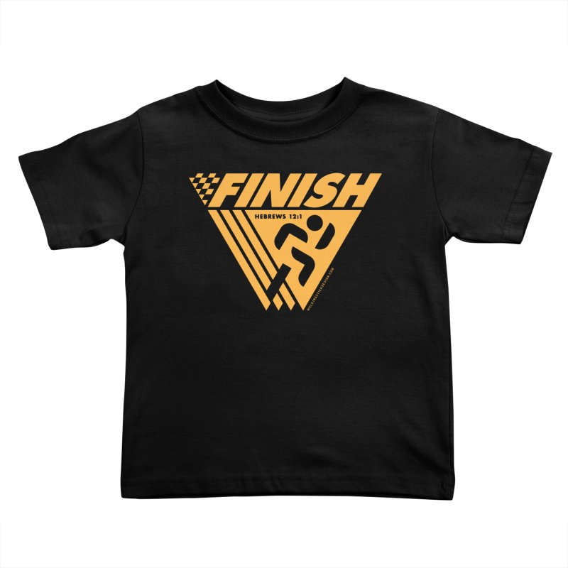 FINISH Retro Race Tee Kids Toddler T-Shirt by WalkingStick Design's Artist Shop