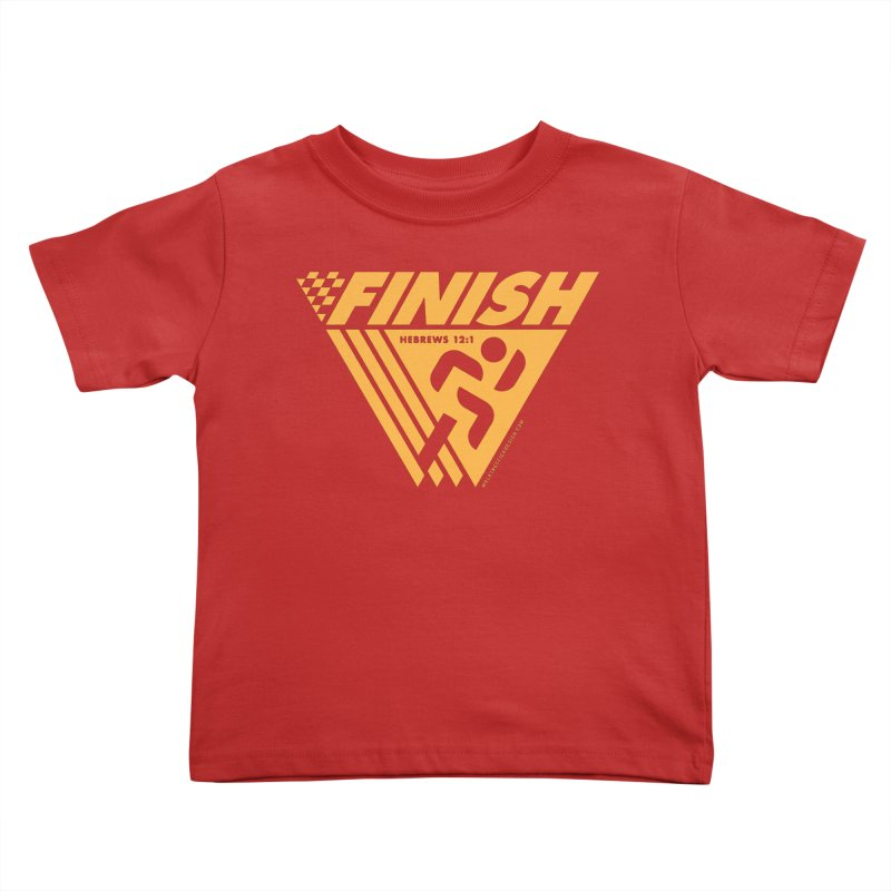 FINISH Retro Race Tee Kids Toddler T-Shirt by walkingstickdesign's Artist Shop