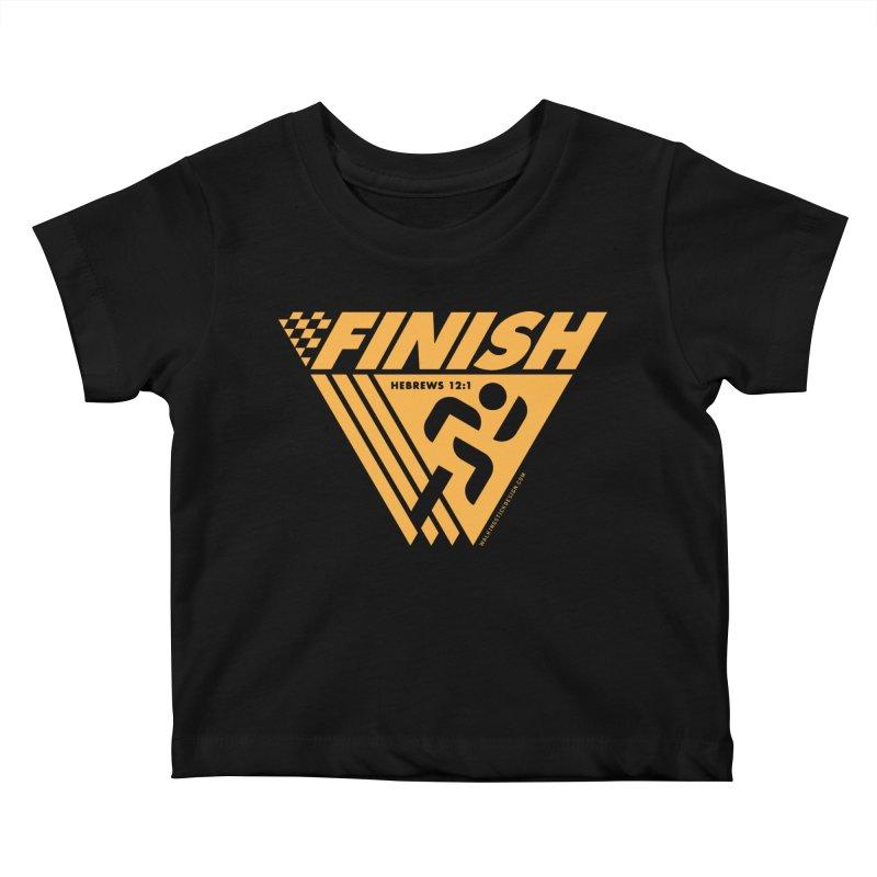 FINISH Retro Race Tee Kids Baby T-Shirt by WalkingStick Design's Artist Shop